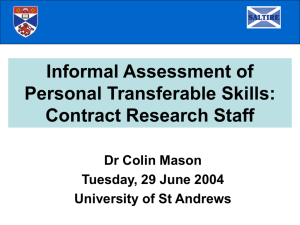 Informal assessment of transferable skills: Contract research staff
