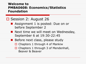 Econ 301: Money and Banking Weekly Detailed Course Outline