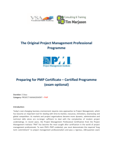 PMP Project Management Cert