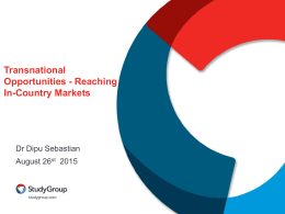 Transnational Opportunities - Reaching in-country markets