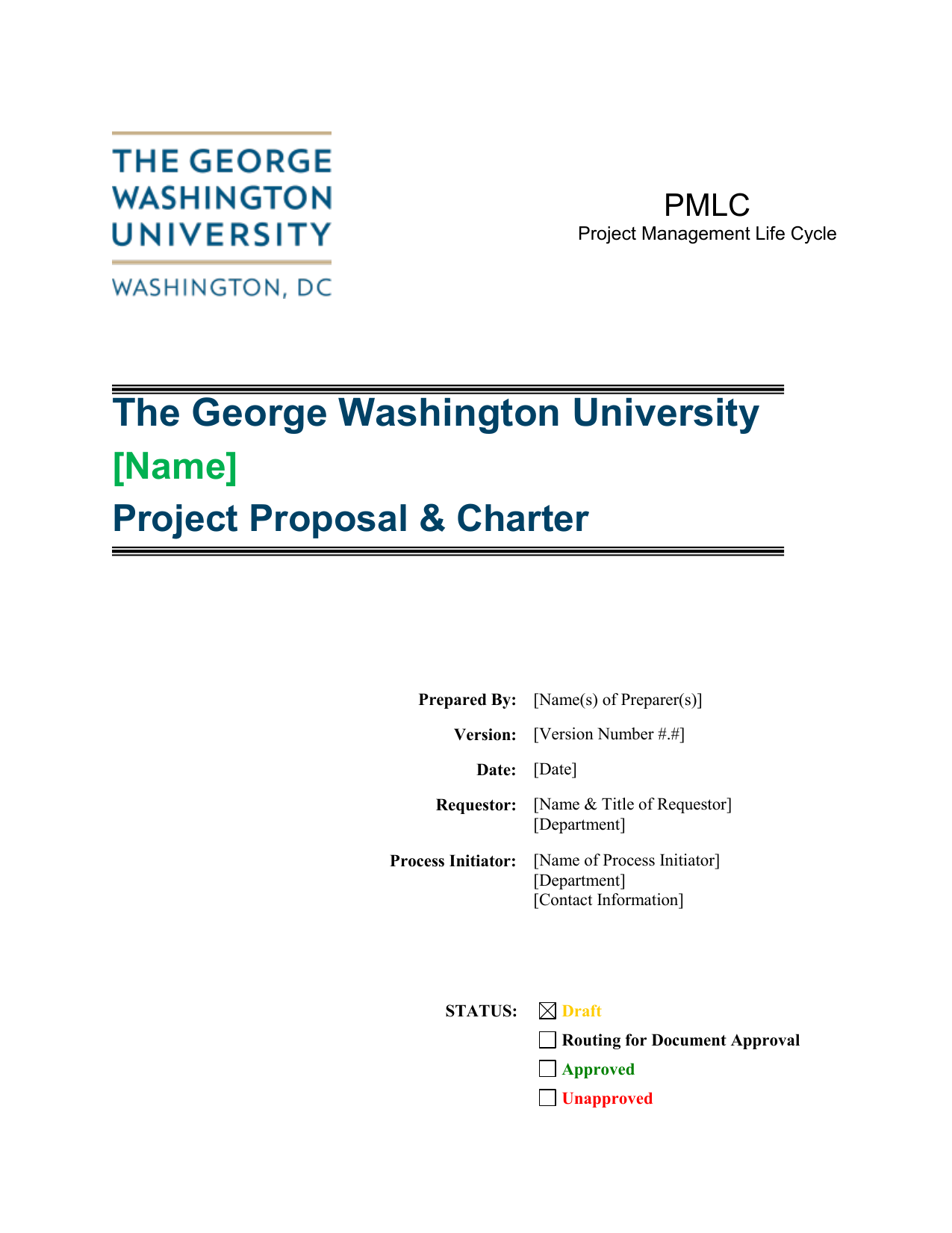 Project Proposal And Charter Template