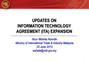Updates On Information Technology Agreement (ITA) Expansion