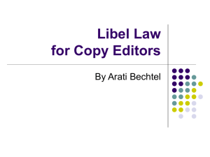 Libel, Privacy & Copyright for Copy Editors