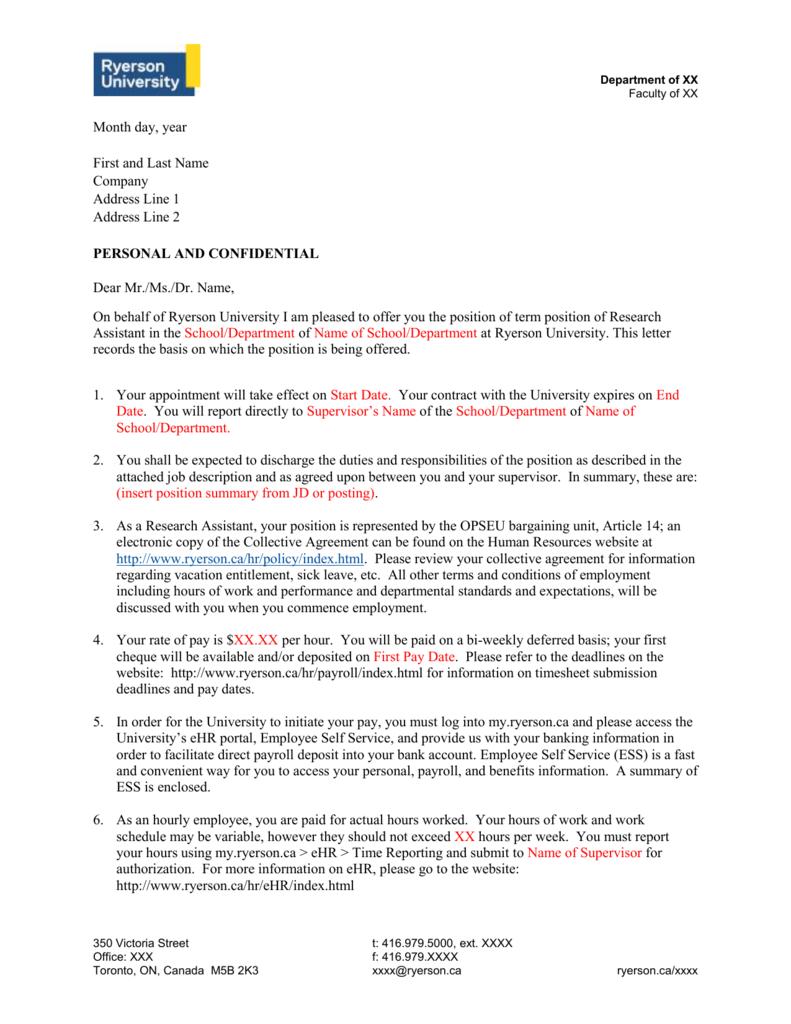 OPSEU research assistant offer letter template – Hr Payroll Job Description