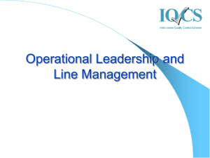 Operational Leadership and Line Management