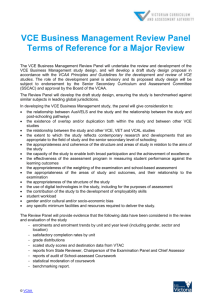 VCE Business Management Review Panel Terms of Reference for a