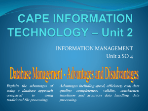 CAPE IT– Unit 2 database management