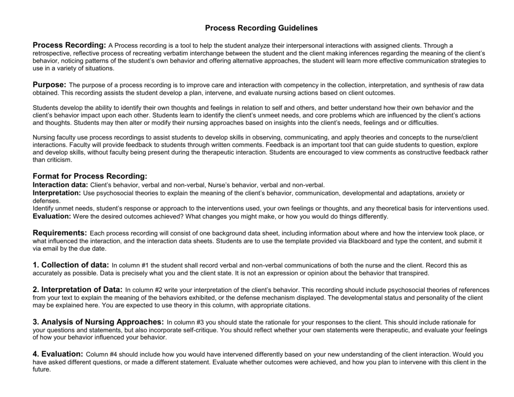 process recording guidelines