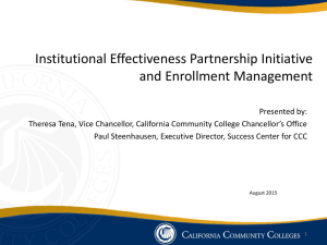 Institutional Effectiveness Partnership Initiative and Enrollment
