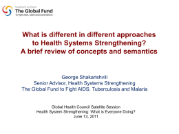 Health Systems Strengthening
