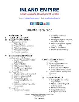 the business plan - Inland Empire SBDC