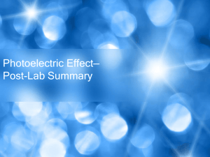 Photoelectric Effect*Post-Lab Summary