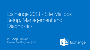 Site Mailbox Setup, Management and Diagnostics
