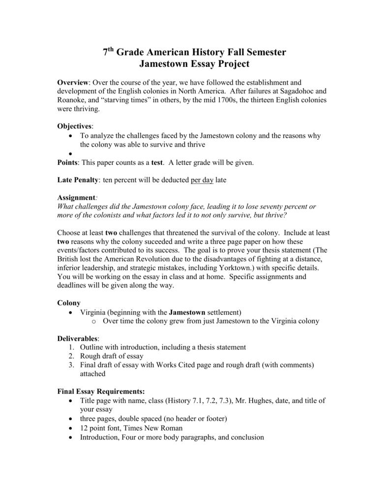 Fall  Jamestown Essay Project