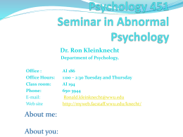 Psychology 451 Seminar in Abnormal Psychology