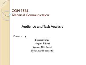 Audience and Task Analysis