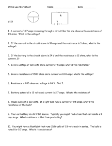 Ohm*s Law Worksheet