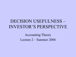 DECISION USEFULNESS – INVESTOR'S PERSPECTIVE