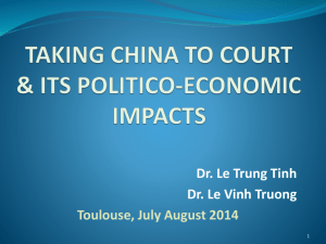 TAKING CHINA TO COURT & ITS POLITICO