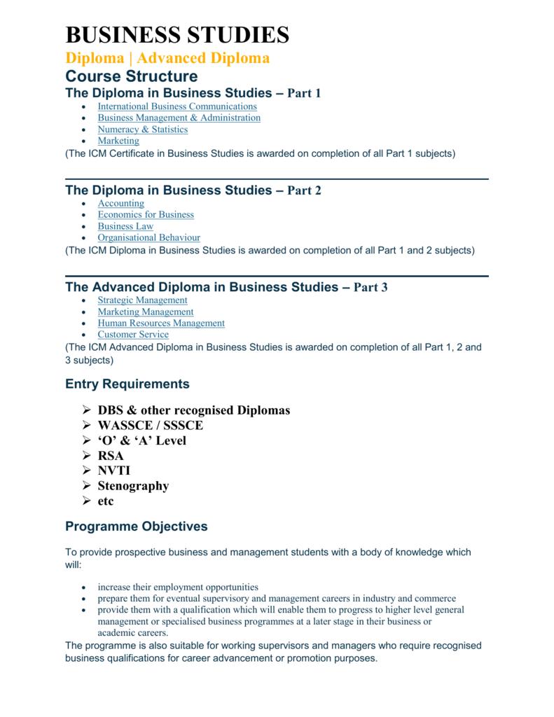 The Diploma In Business Studies Shareworld Development Institute