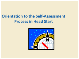Orientation to the Self Assessment Process