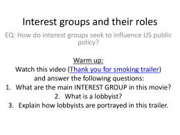 interest groups and political action committees They also operate their own political action committee, the and political action committee the israel lobby is known for its success in encouraging us lawmakers to support the policies that it supports one type of private interest group that has grown in number and influence in recent years.