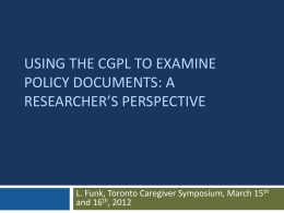 Applying the CGPL in discourse analyses of policy