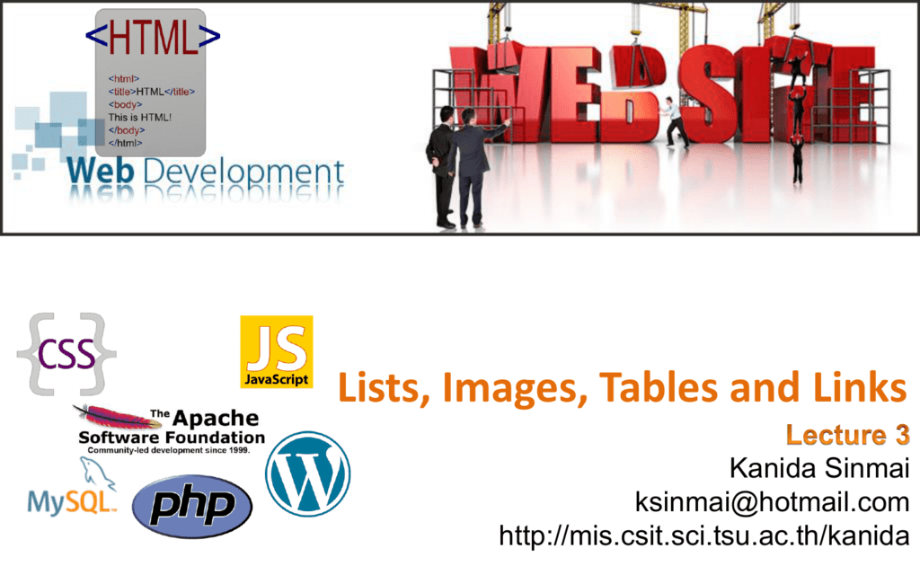 HTML: Lists, Images, Tables and Links