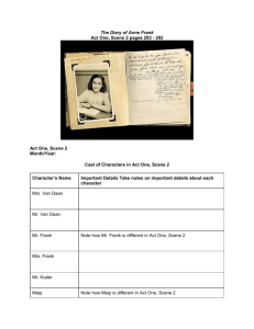 The Diary of Anne Frank Act One, Scene 2 Graphic Organizer