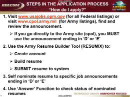 Steps in the Application Process