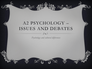 A2 Psychology * issues and debates