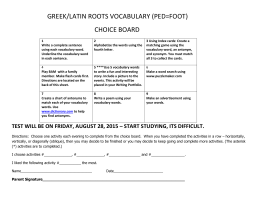 GREEK-LATIN ROOTS CHOICE BOARD
