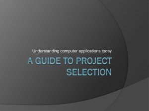 Lecture 2 - Guide to selecting projects - SBCS E