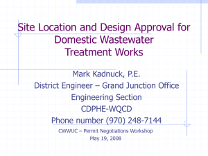 site location and design approval for domestic wastewater treatment