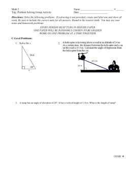 Angle Of Elevation Depression Trig Worksheet 4