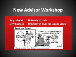 New Advisor Workshop