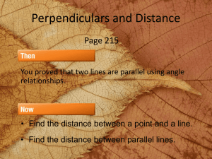 Perpendiculars and Distance