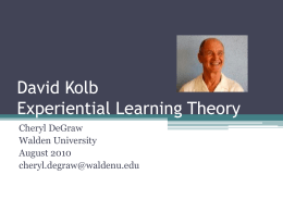 David Kolb - AdultLearningTheories