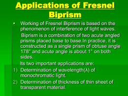 Application of Fresnel Biprism
