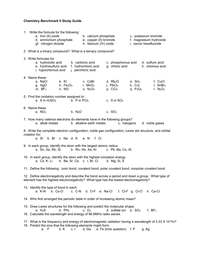 Chemistry Benchmark II Study Guide