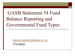 GASB 54 – Fund Balance Reporting Requirements