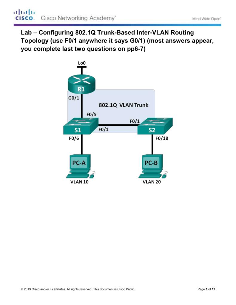 5 1 3 7 Lab - Configuring 802 1Q Trunk-Based Inter