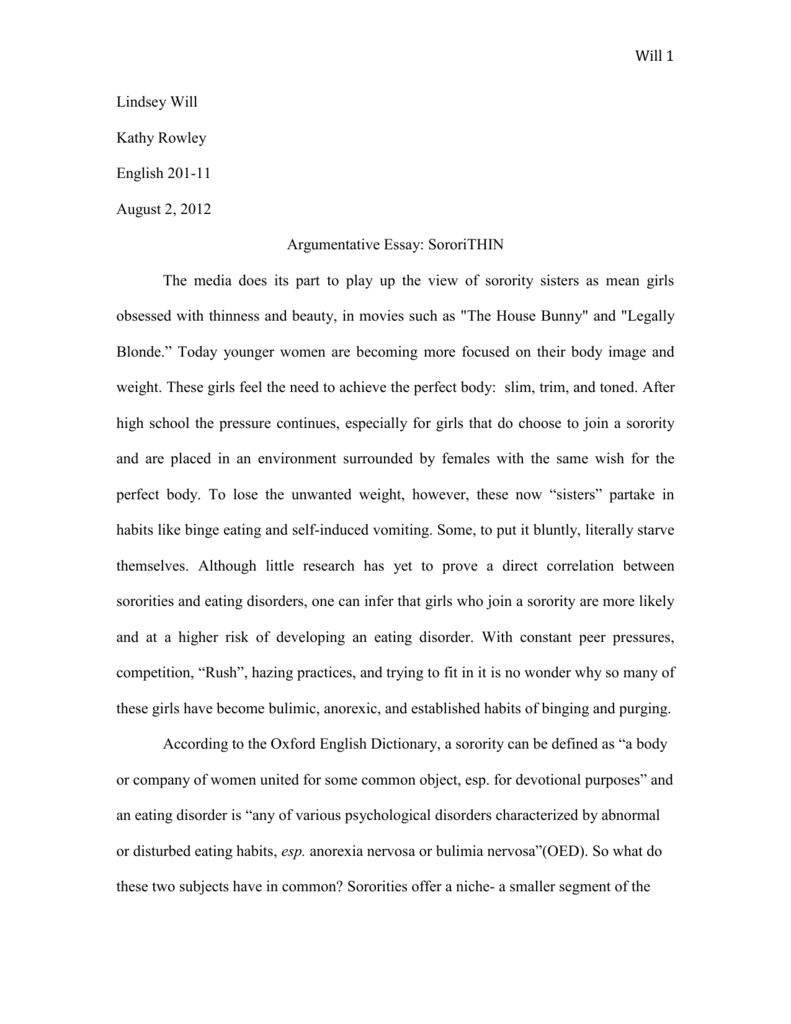 Argumentative essay on eating disorders