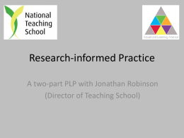Research-informed Practice - Advanced Learning Alliance