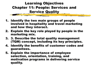 Chapter 11: People: Services and Service Quality