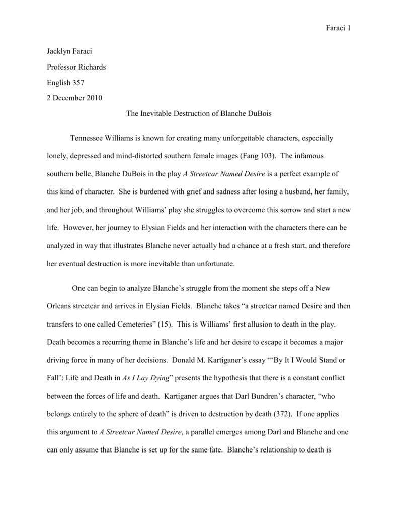 streetcar named desire blanches downfall essay