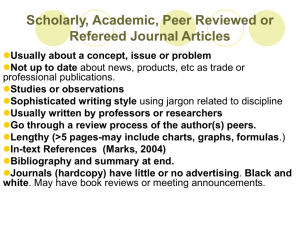 Scholarly, Academic, Peer Reviewed Articles