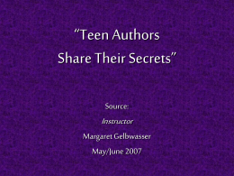 Teen Authors Share Their Secrets