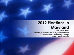 2012 Elections In Maryland - Anne Arundel Community College