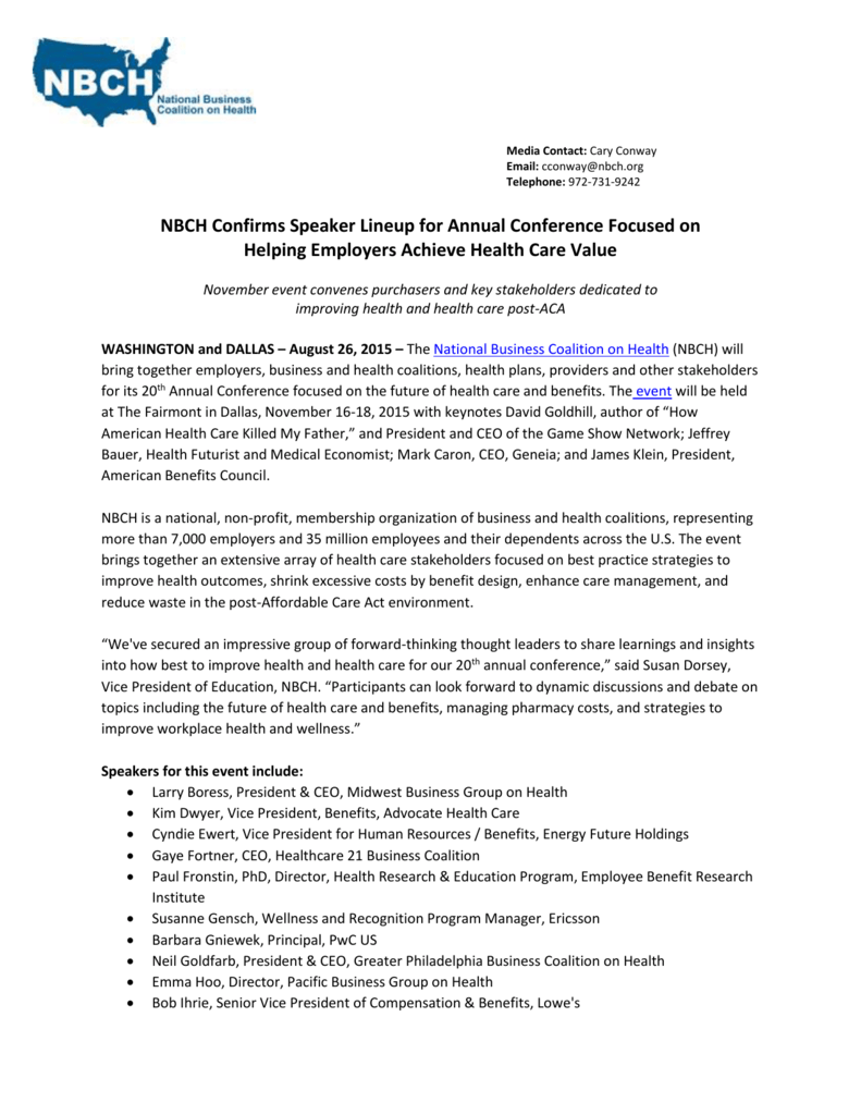 News Release - National Business Coalition on Health